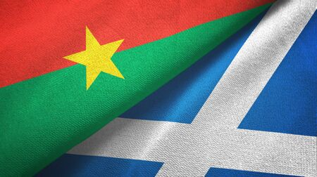 Burkina Faso and Scotland two folded flags together