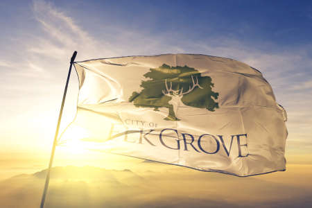 Elk Grove of California of United States flag waving