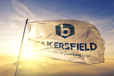 Bakersfield of California of United States flag waving