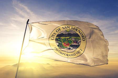 San Leonardo of California of United States flag waving