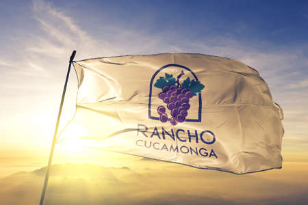 Rancho Cucamonga of California of United States flag waving