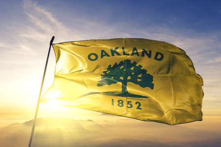 Oakland of California of United States flag waving Stock Photo