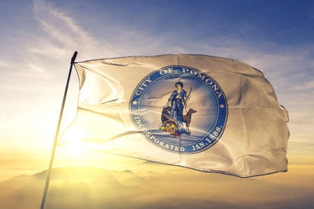 Pomona of California of United States flag waving