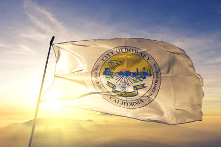 Downey of California of United States flag waving