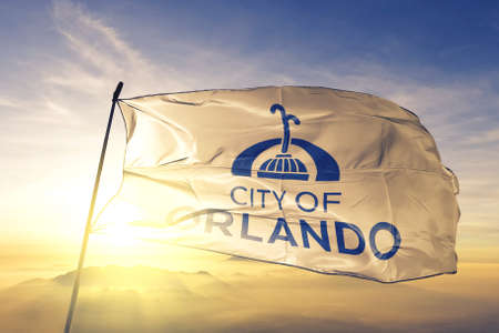 Orlando of Florida of United States flag waving