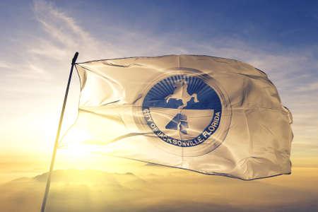 Jacksonville of Florida of United States flag waving