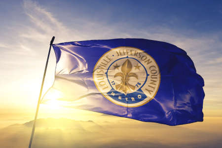 Louisville of Kentucky of United States flag waving
