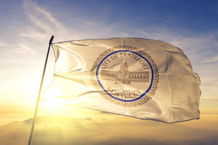 Frankfort of Kentucky of United States flag waving