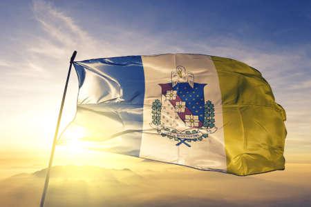 Shreveport of Louisiana of United States flag waving