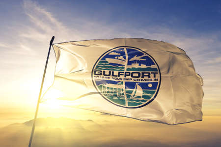Gulfport of Mississippi of United States flag waving