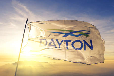 Dayton of Ohio of United States flag waving