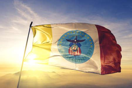 Columbus of Ohio of United States flag waving