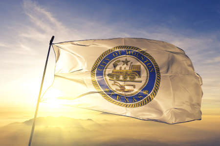 Houston of Texas of United States flag waving Stock Photo