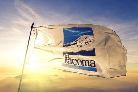 Tacoma of Washington of United States flag waving