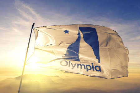 Olympia of Washington of United States flag waving