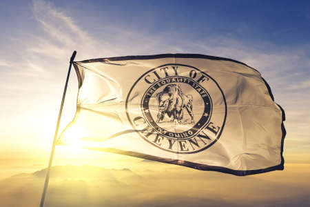 Cheyenne of Wyoming of United States flag waving Stock Photo