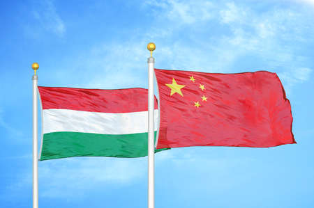 Hungary and China two flags on flagpoles and blue cloudy sky background 版權商用圖片