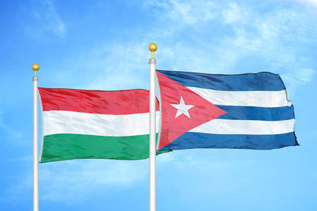 Hungary and Cuba two flags on flagpoles and blue cloudy sky background