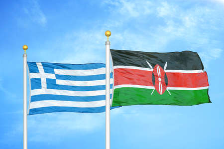 Greece and Kenya two flags on flagpoles and blue cloudy sky background Stock Photo