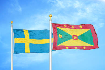 Sweden and Grenada two flags on flagpoles and blue cloudy sky background