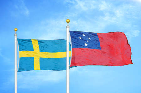 Sweden and Samoa two flags on flagpoles and blue cloudy sky background