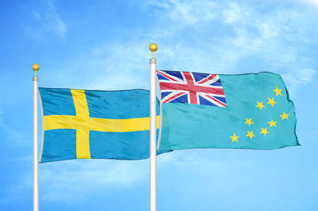 Sweden and Tuvalu two flags on flagpoles and blue cloudy sky background