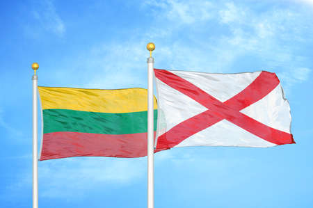 Lithuania and Northern Ireland two flags on flagpoles and blue cloudy sky background