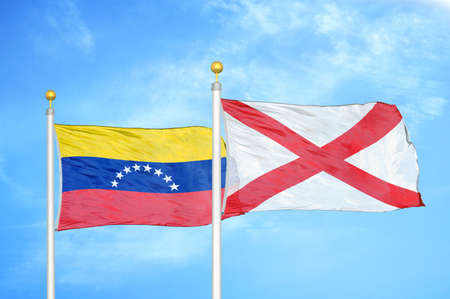 Venezuela and Northern Ireland two flags on flagpoles and blue cloudy sky background Stock Photo