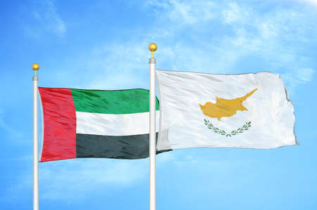 United Arab Emirates and Cyprus two flags on flagpoles
