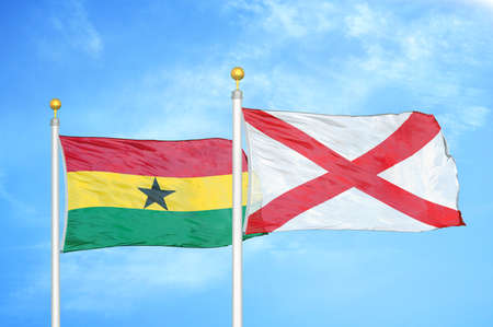 Ghana and Northern Ireland two flags on flagpoles and blue cloudy sky background