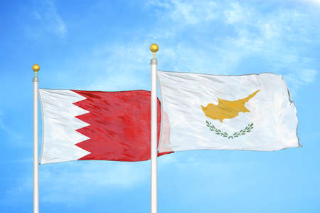 Bahrain and Cyprus two flags on flagpoles and blue cloudy sky background