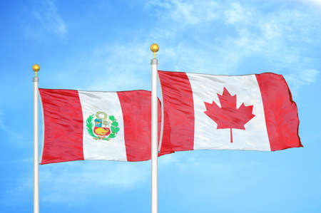 Peru and Canada two flags on flagpoles and blue cloudy sky background