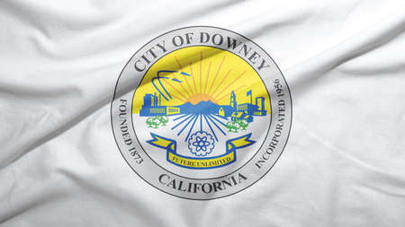 Downey of California of United States flag on the fabric texture background Stock fotó