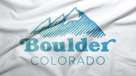 Boulder of Colorado of United States flag on the fabric texture background