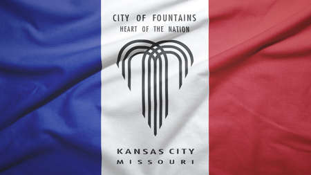 Kansas City of Missouri of United States flag on the fabric texture background