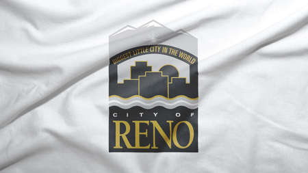 Reno of Nevada of United States flag on the fabric texture background