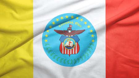 Columbus of Ohio of United States flag on the fabric texture background