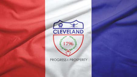 Cleveland of Ohio of United States flag on the fabric texture background