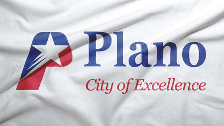 Plano of Texas of United States flag on the fabric texture background