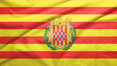Girona province of Spain flag on the fabric texture background 스톡 콘텐츠