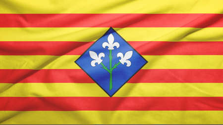 Lerida province of Spain flag on the fabric texture background