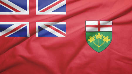Ontario province of Canada flag on the fabric texture background