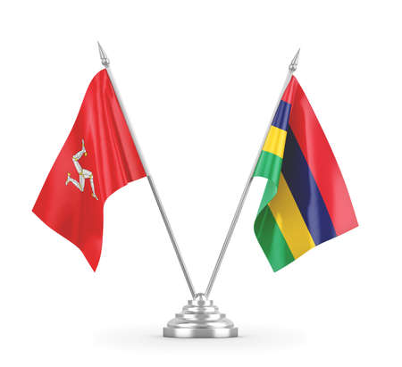 Mauritius and Isle of Mann table flags isolated on white 3D rendering