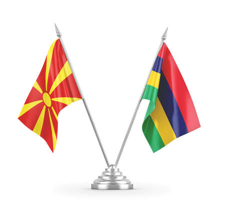 Mauritius and North Macedonia table flags isolated on white 3D rendering