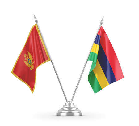 Mauritius and Montenegro table flags isolated on white 3D rendering Zdjęcie Seryjne