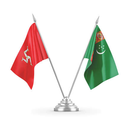 Turkmenistan and Isle of Mann table flags isolated on white 3D rendering Zdjęcie Seryjne