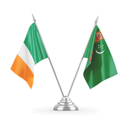 Turkmenistan and Ireland table flags isolated on white 3D rendering