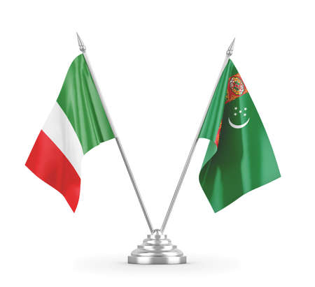 Turkmenistan and Italy table flags isolated on white 3D rendering