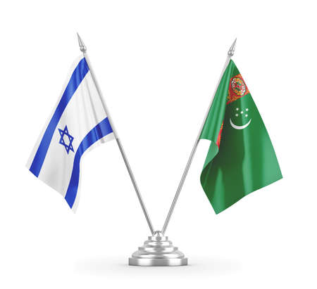 Turkmenistan and Israel table flags isolated on white 3D rendering