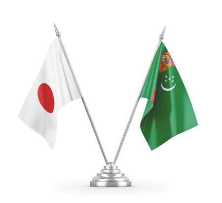Turkmenistan and Japan table flags isolated on white 3D rendering